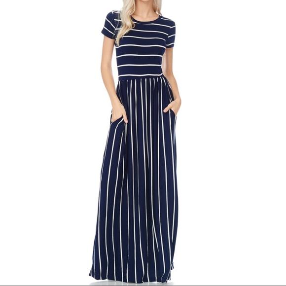 NWT Navy Stripe Maxi Dress by Reborn J a601d8a9f